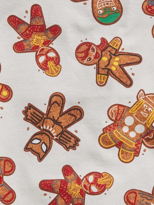 Erkek Bebek Beyaz Marvel Gingerbread Pijama Takımı