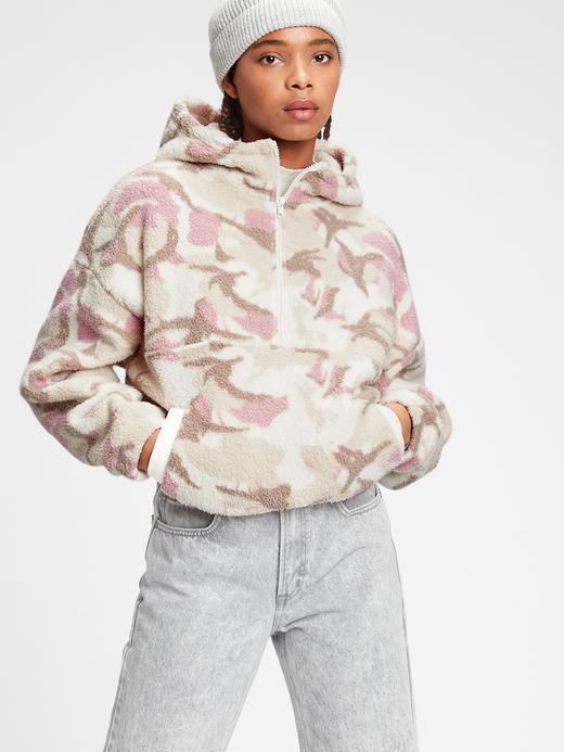 Kadın Gri Sherpa Kapüşonlu Sweatshirt