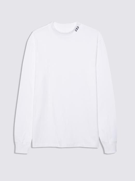 Erkek Beyaz Gap Logo Uzun Kollu T-Shirt
