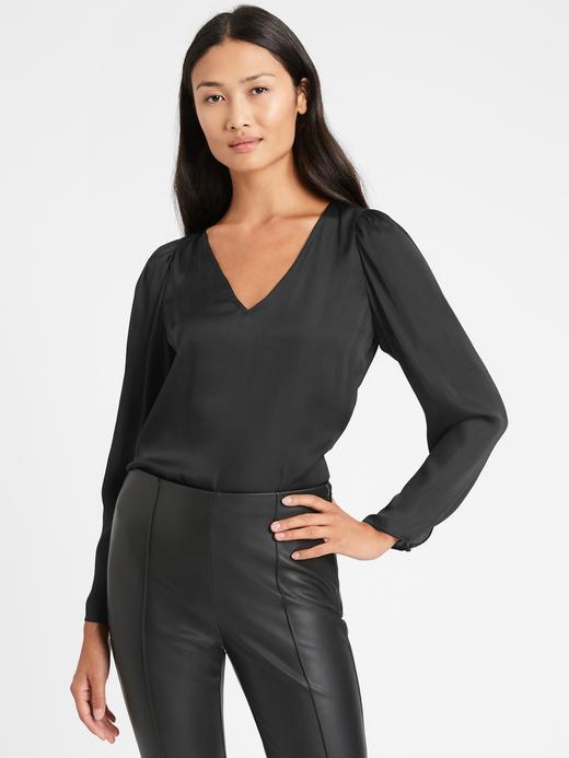 Kadın Siyah Saten V Yaka Bluz
