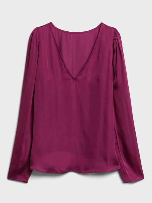 Kadın Beyaz Saten V Yaka Bluz