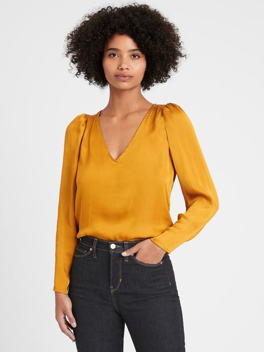 Kadın Sarı Saten V Yaka Bluz