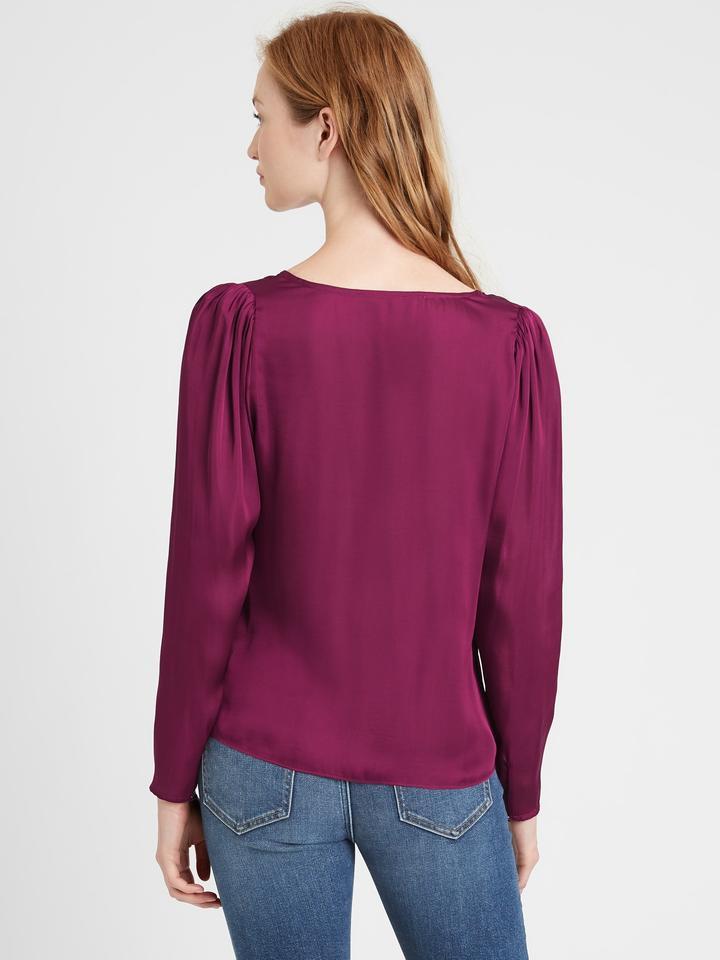 Kadın Mor Saten V Yaka Bluz