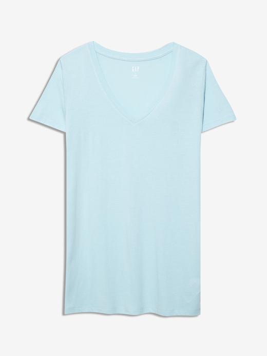 Kadın Mavi Favorite V Yaka T-Shirt