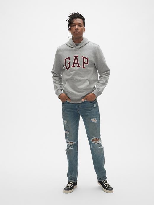 Erkek Bej Gap Logo Pullover Kapüşonlu Sweatshirt