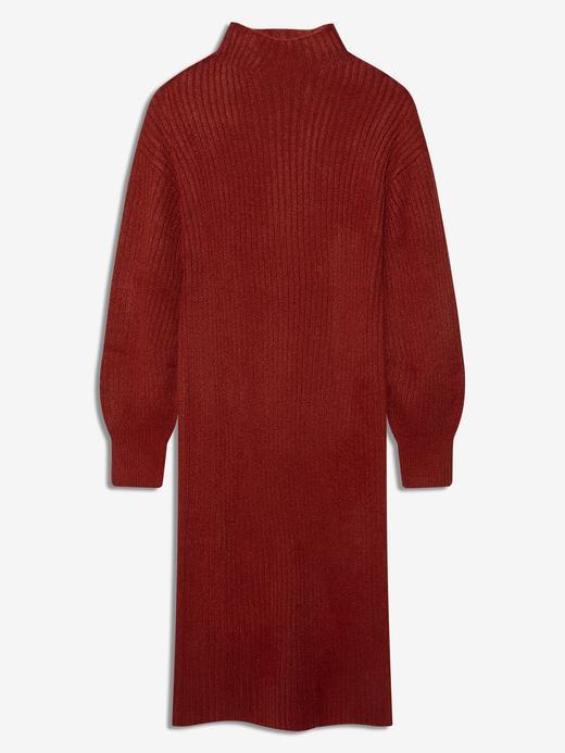 Kadın Kırmızı Balıkçı Yaka Kazak Elbise