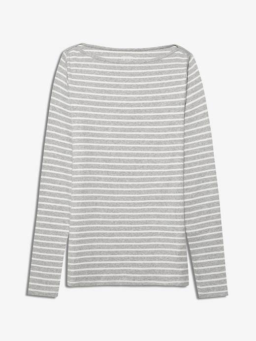 Kadın Gri Uzun Kollu Çizgili T-Shirt