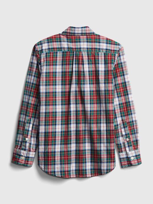 Erkek Çocuk kirmizi Oxford Ekose Gömlek