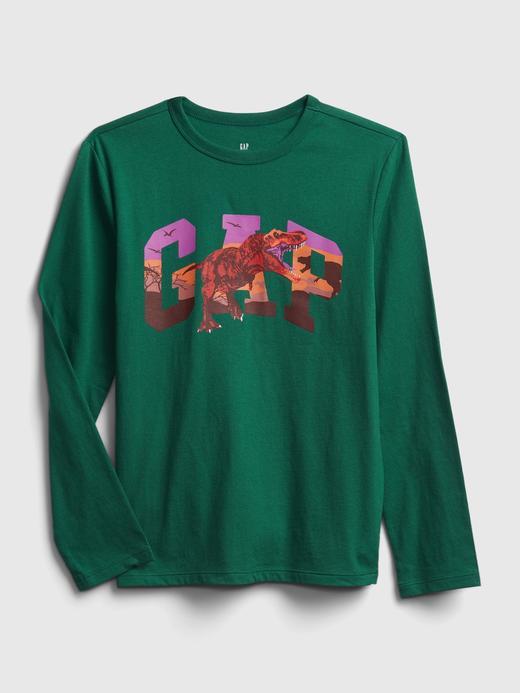Erkek Çocuk Yeşil Uzun Kollu Grafik T-Shirt