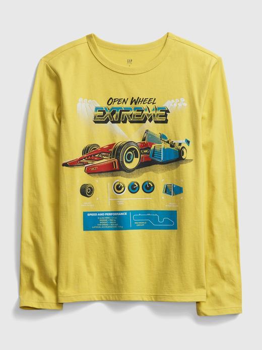 Erkek Çocuk Sarı Uzun Kollu Grafik T-Shirt