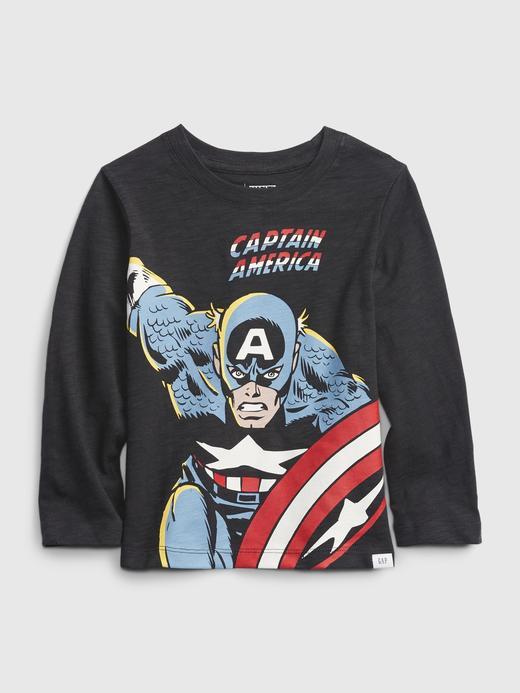 Erkek Bebek Siyah Marvel Uzun Kollu Grafik T-Shirt