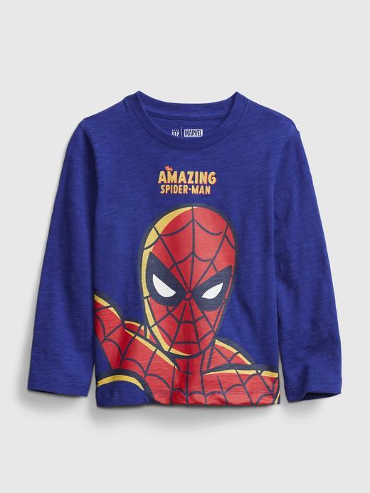 Erkek Bebek Lacivert Marvel Uzun Kollu Grafik T-Shirt