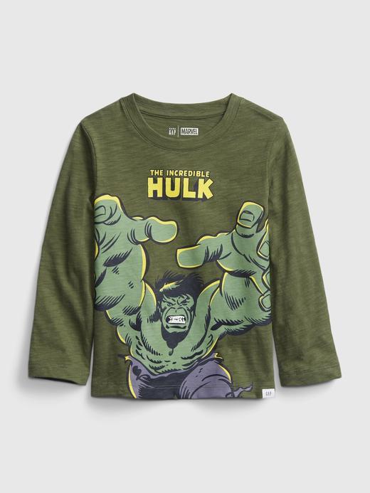 Erkek Bebek Yeşil Marvel Uzun Kollu Grafik T-Shirt