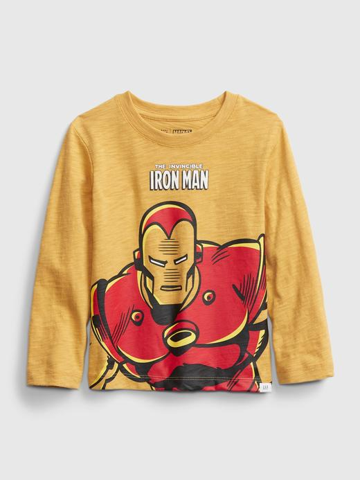 Erkek Bebek Sarı Marvel Uzun Kollu Grafik T-Shirt