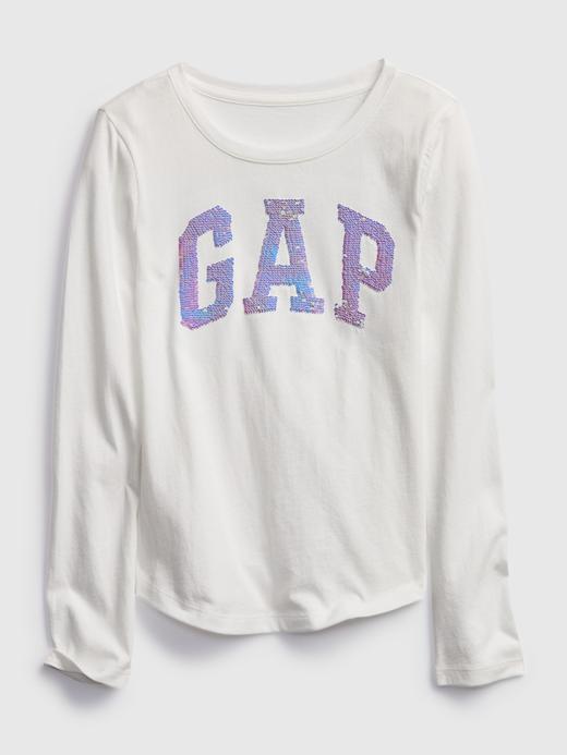 Kız Çocuk Beyaz Gap Logo Değişen Pullu Uzun Kollu T-Shirt