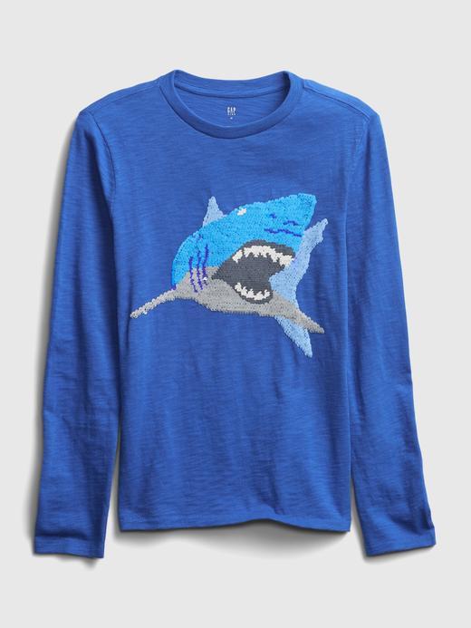 Erkek Çocuk Mavi Uzun Kollu Grafik T-Shirt
