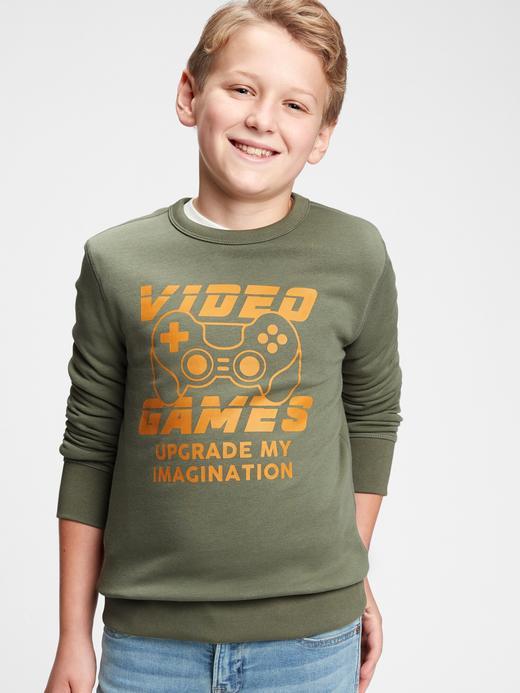 Erkek Çocuk Yeşil Uzun Kollu Grafik Sweatshirt