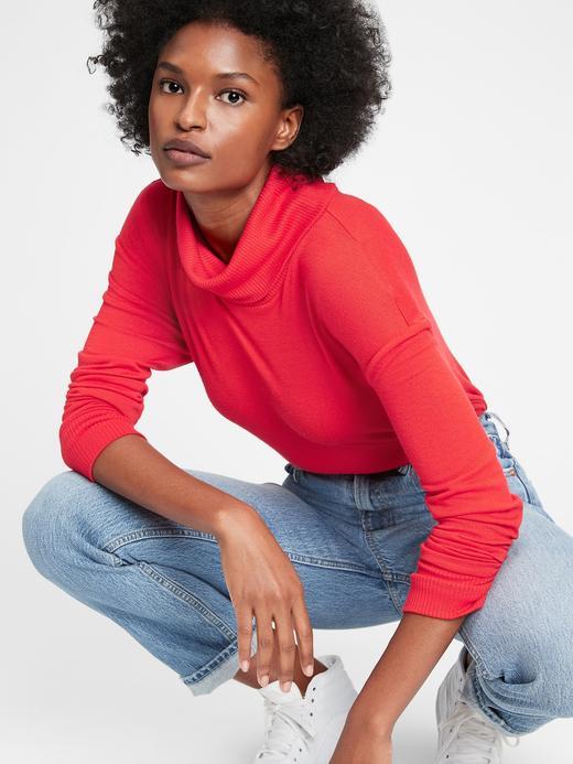 Kadın kirmizi Softspun Balıkçı Yaka T-Shirt