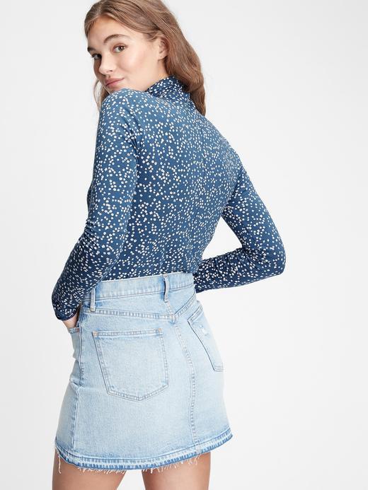 Kadın Mavi Balıkçı Yaka Desenli Bluz