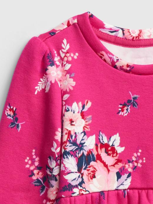 Kız Bebek Pembe Çiçek Desenli Cozy Elbise