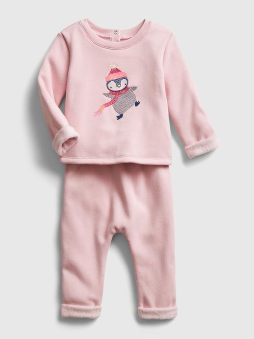 Erkek Bebek Bej Cozy T-shirt ve Eşofman Altı Takımı