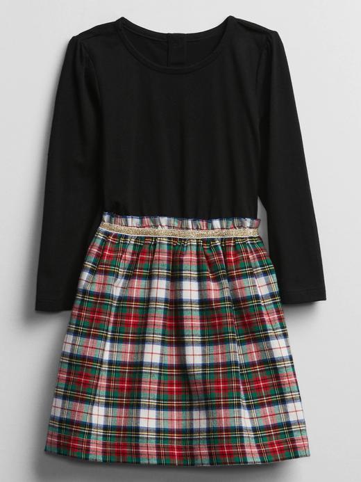 Kız Bebek siyah Uzun Kollu Ekose Elbise