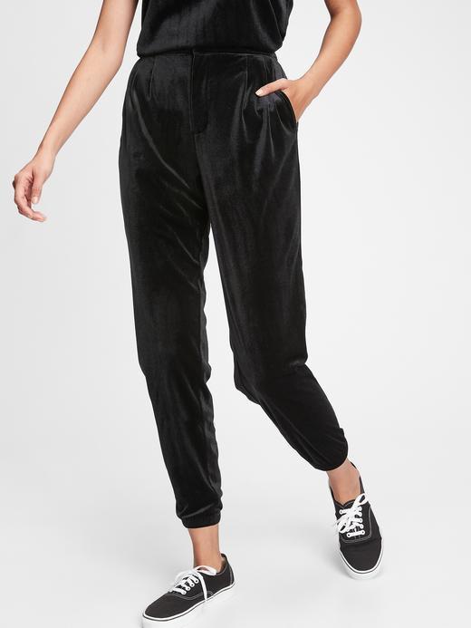 Kadın Siyah Kadife Jogger Pantolon