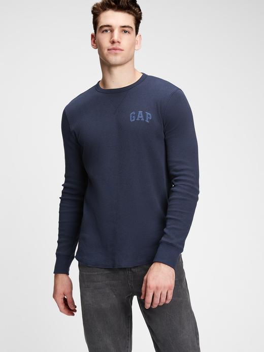 Erkek Lacivert Gap Logo Uzun Kollu T-Shirt