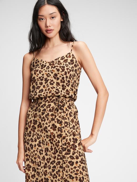 Kadın Kahverengi Desenli Askılı Bluz
