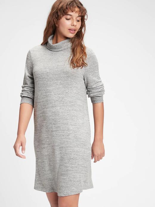 Kadın Gri Softspun Balıkçı Yaka Elbise