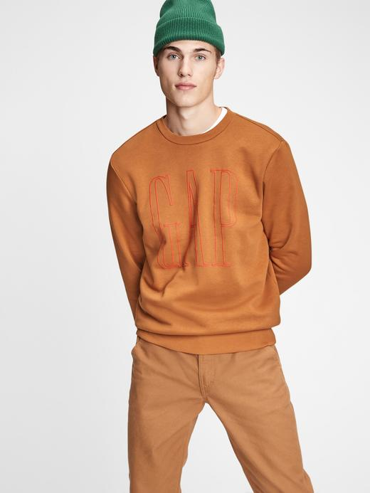 Erkek Kahverengi Gap Logo Yuvarlak Yaka Sweatshirt