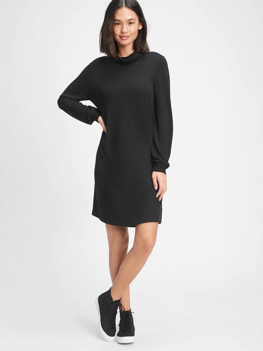 Kadın Siyah Softspun Balıkçı Yaka Elbise