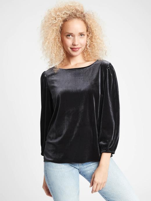 Kadın Siyah Kadife Uzun Kollu Bluz