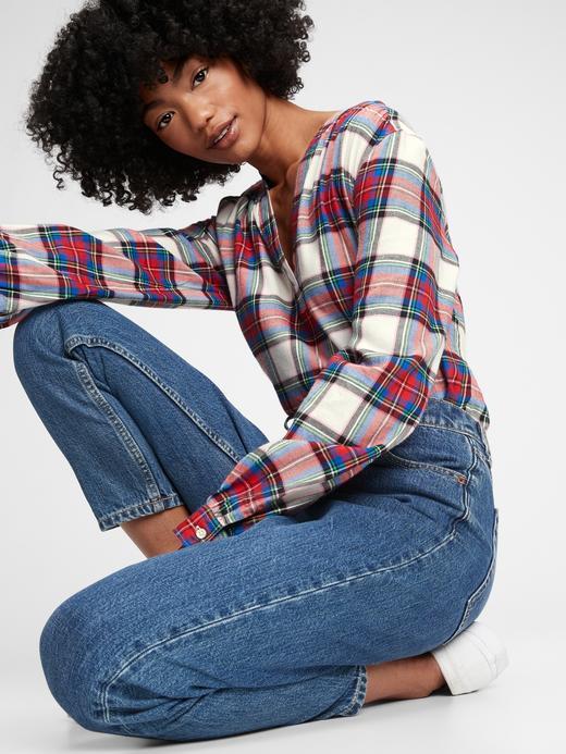 Kadın Kırmızı Ekose Popover Bluz