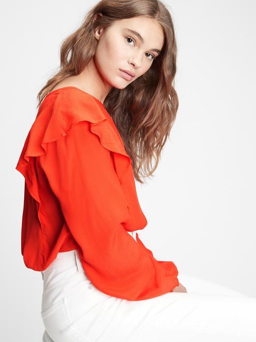 Kadın kirmizi Fırfır Detaylı Bluz