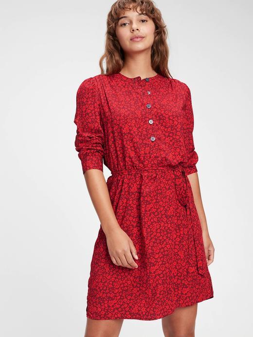 Kadın kirmizi Desenli Önden Düğmeli Elbise