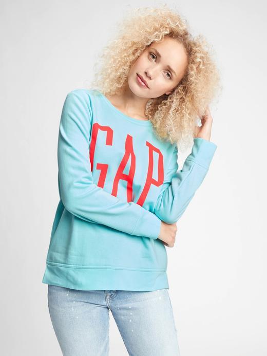 Kadın Mavi Gap Logo Yuvarlak Yaka Sweatshirt