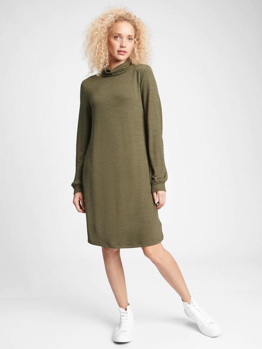 Kadın NEW ARMY GREEN Softspun Balıkçı Yaka Elbise