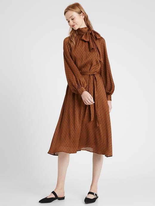 Kadın Kahverengi Puantiyeli Midi Elbise