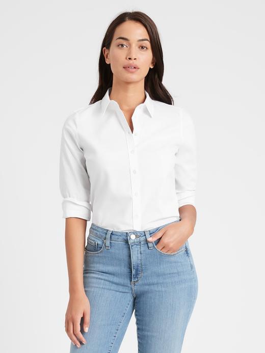 Kadın Beyaz Uzun Kollu Riley Tailored-Fit Gömlek