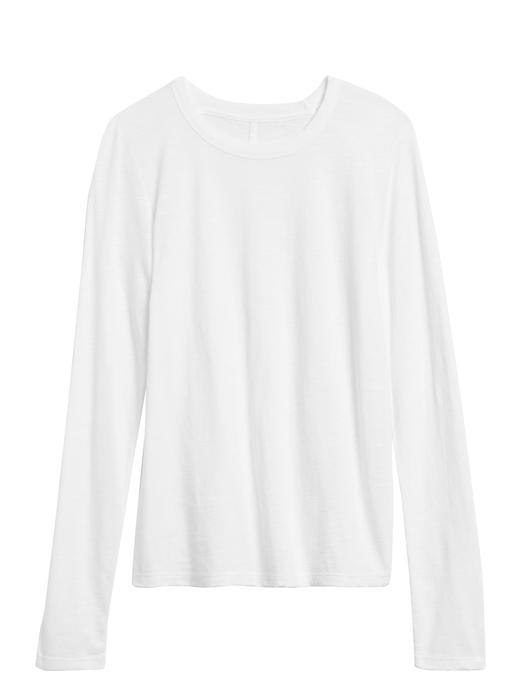 Kadın Beyaz Pamuk-Modal Karışımlı Uzun Kollu T-Shirt