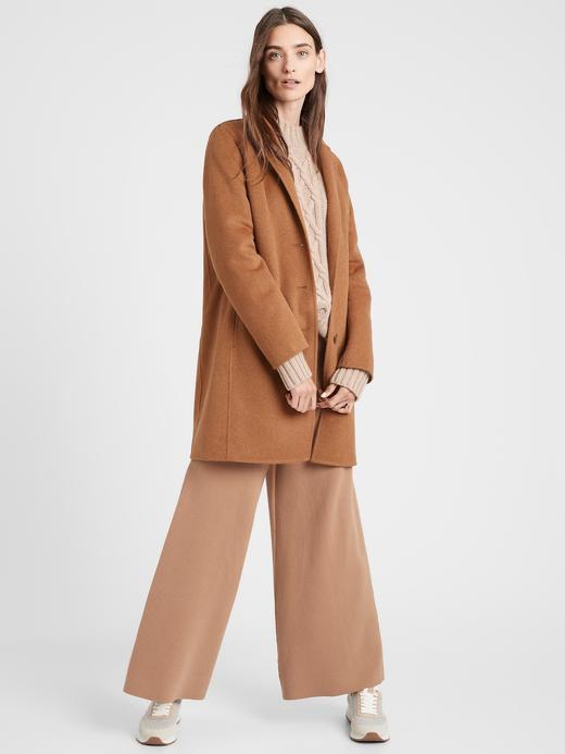 Kadın Kahverengi Yün Karışımlı Kaban