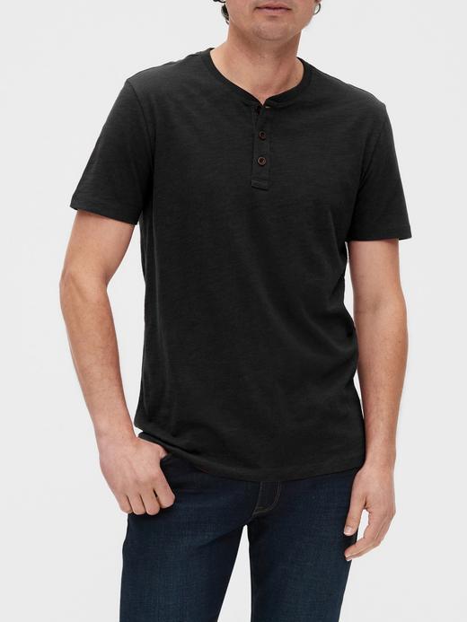 Erkek Siyah Henley Kısa Kollu T-Shirt