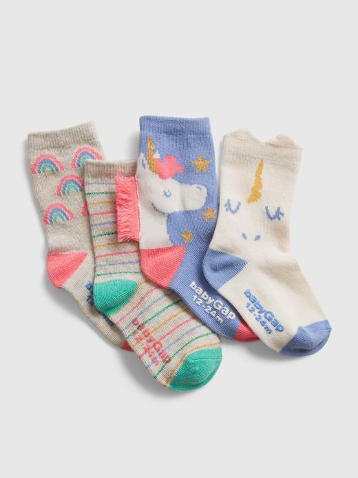 Bebek Çok Renkli 4'lü Unicorn Desenli Çorap Seti