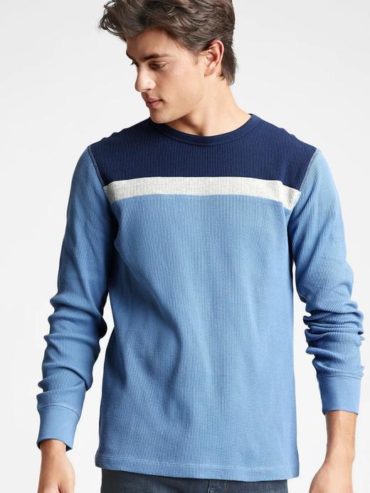 Erkek Mavi %100 Organik Pamuk Renk Bloklu T-Shirt