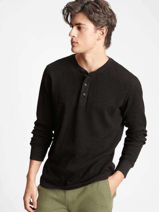 Erkek Siyah Henley Uzun Kollu T-Shirt