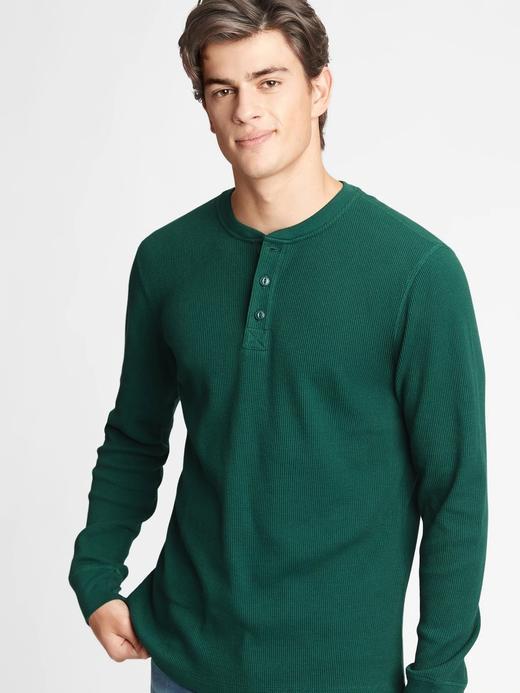 Erkek Yeşil Henley Uzun Kollu T-Shirt
