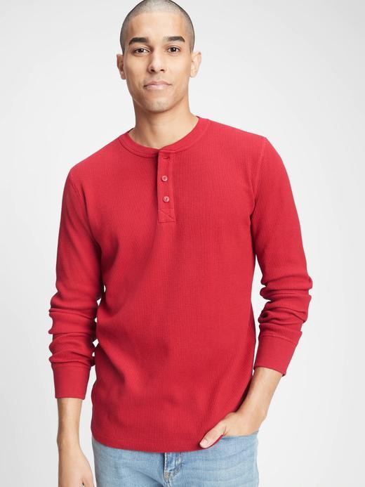 Erkek Kırmızı Henley Uzun Kollu T-Shirt