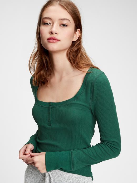 Kadın Yeşil Fitilli Henley Uzun Kollu Pijama Üstü