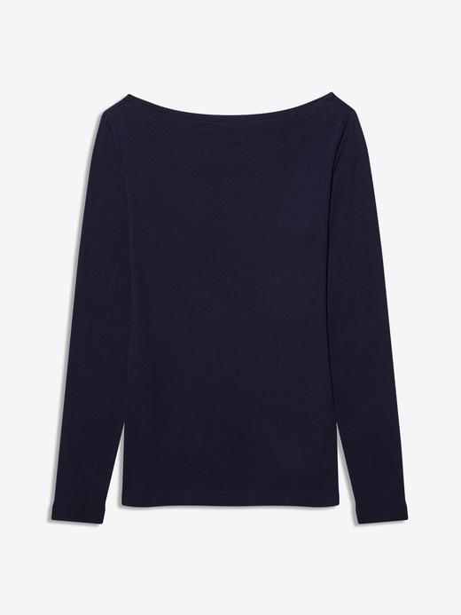 Kadın Lacivert Kayık Yaka Uzun Kollu T-Shirt